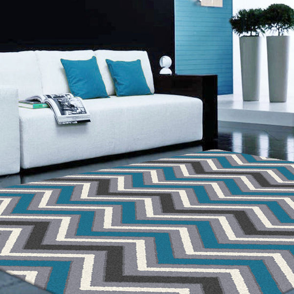 Blue and Grey Chevron Rug
