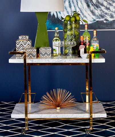 Franklin White & Gold Drinks Trolley