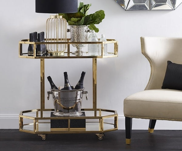 Home Bar Furniture | Brooklyn Gold Drinks Trolley