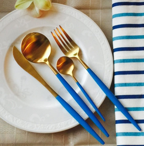 Xandra Gold Cutlery Set - Blue