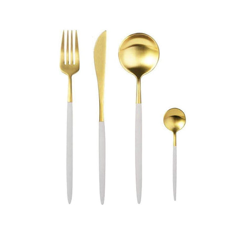Xandra White And Matte Gold Cutlery Set - 24Pc