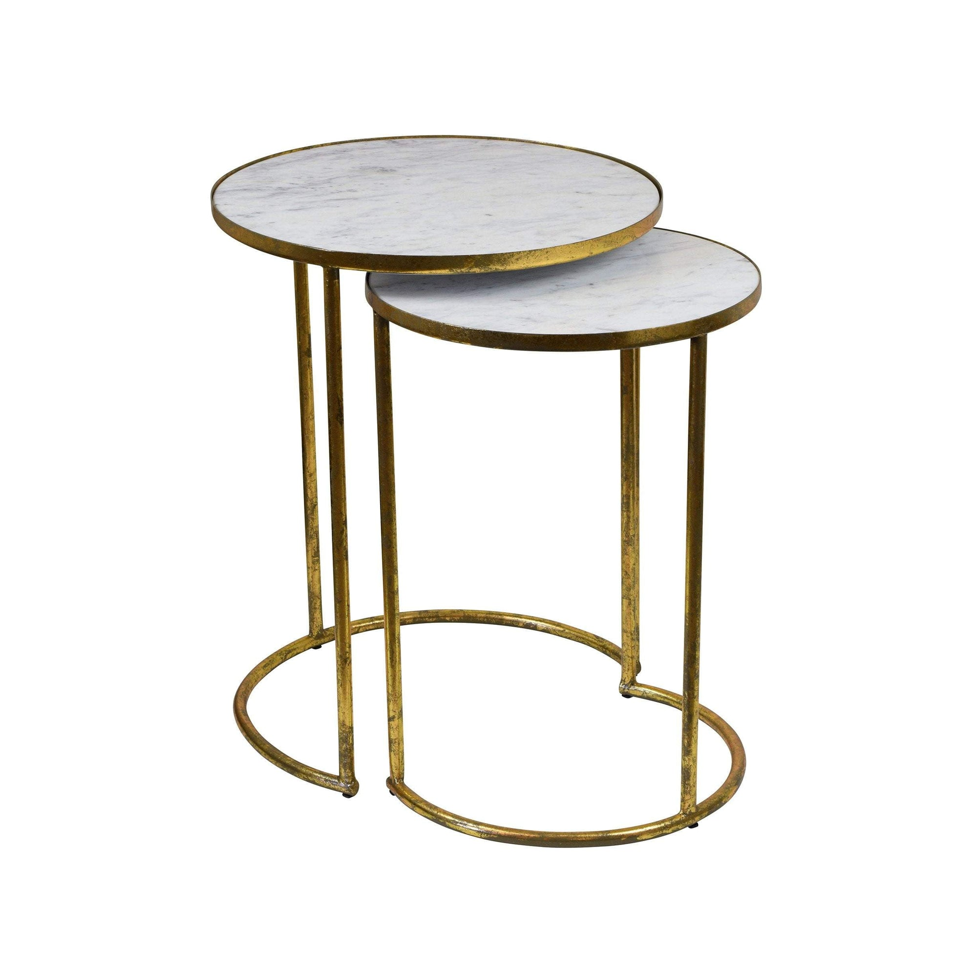 Alexios Side Table Set - Marble & Gold