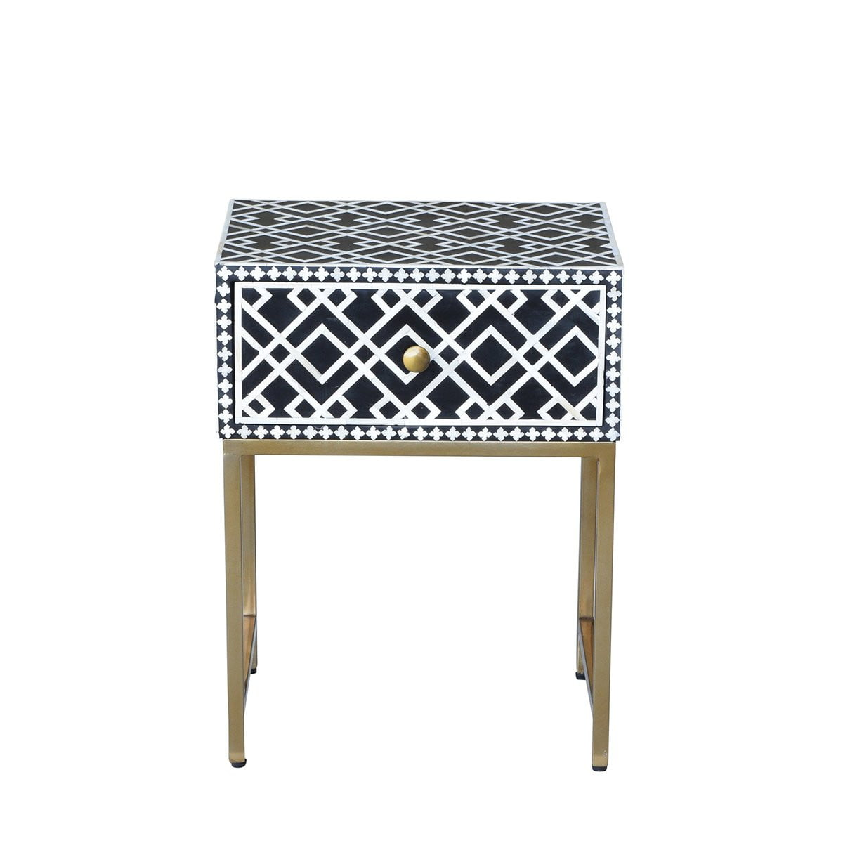 Mona Bed Side Table Black & White | Attica House