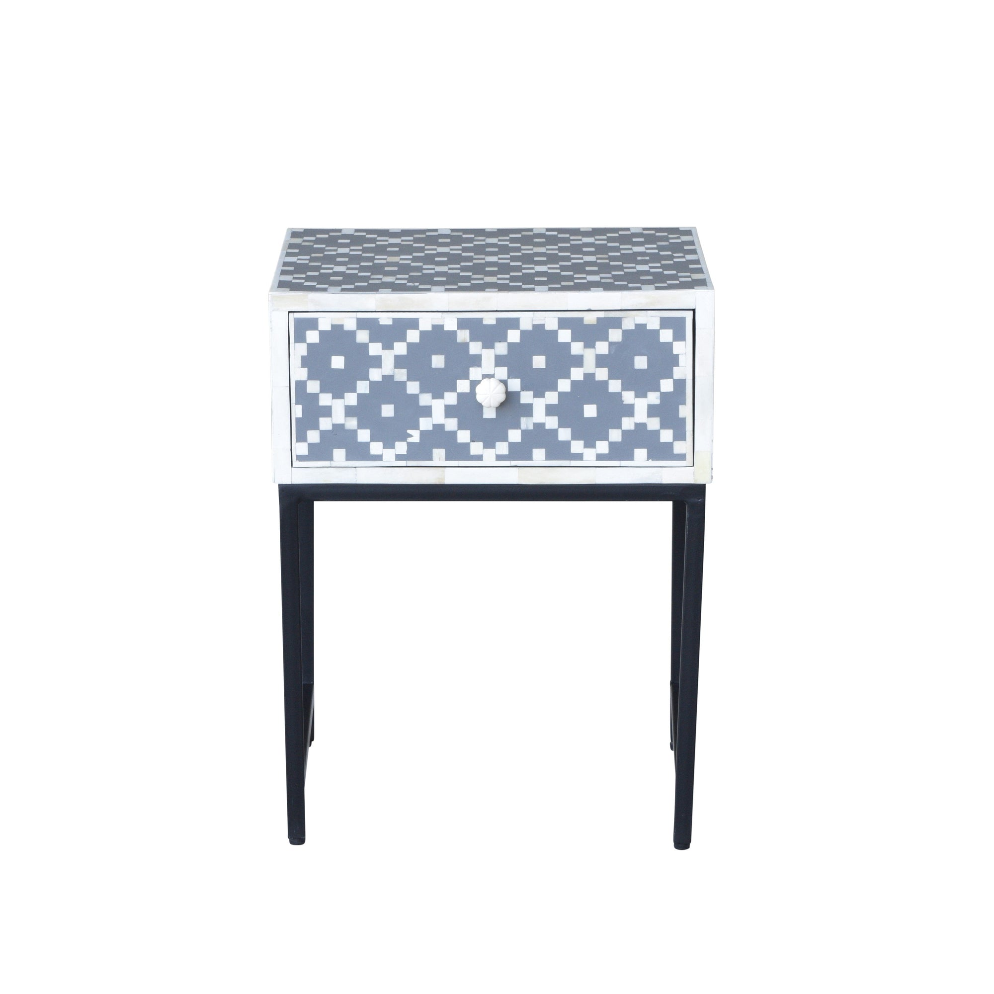 Mona Grey Bone Inlay side table | Attica House