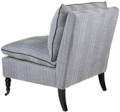Candace Linen Chair Chevron Blue | Attica Luxury Furniture Sydney