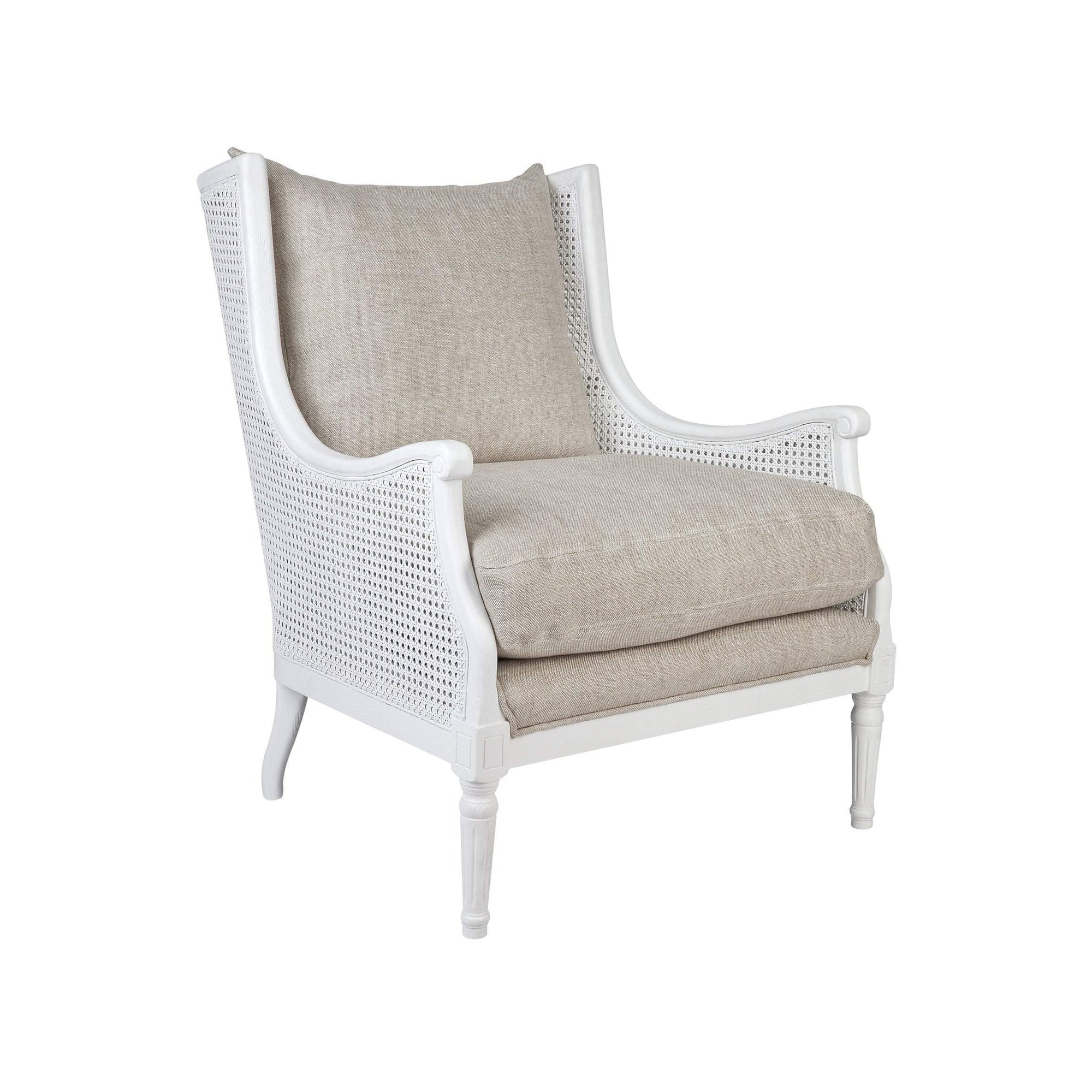 Havana Cane Arm Chair White