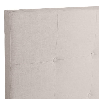 Regent Tufted Queen Bedhead - Natural Linen | Luxury Furniture Sydney