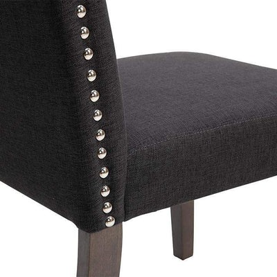 Lethbridge Studded Dining Chair Charcoal | Luxury Furniture Sydney