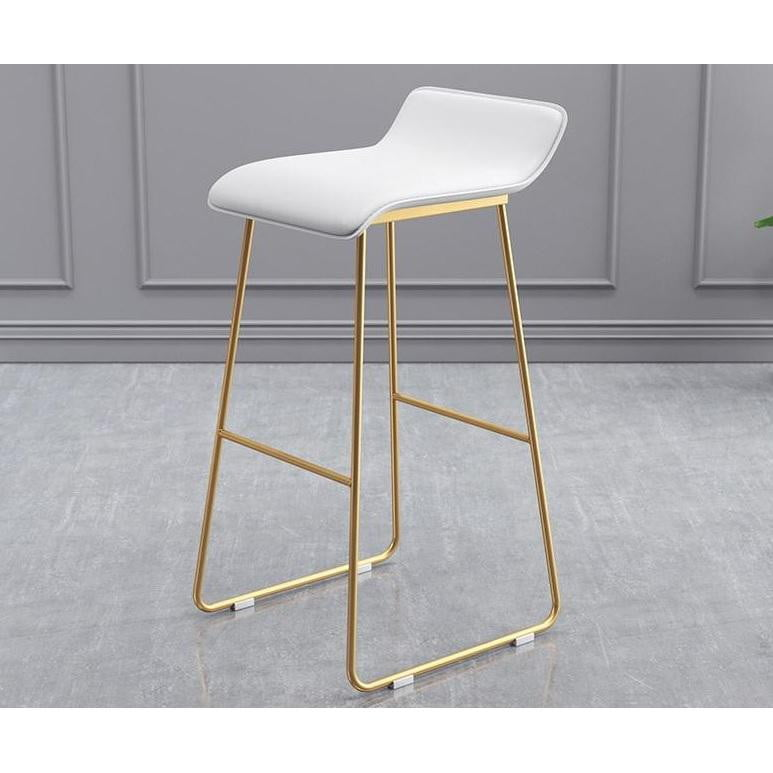 Audrey Kitchen Stool White & Gold | Attica Home Bar