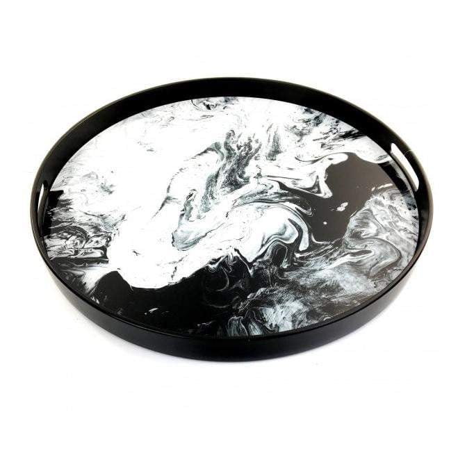Black & White Round Tray