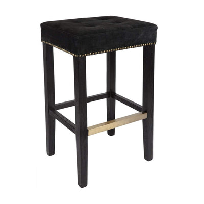 Canyon Bar Stool - Black Suede