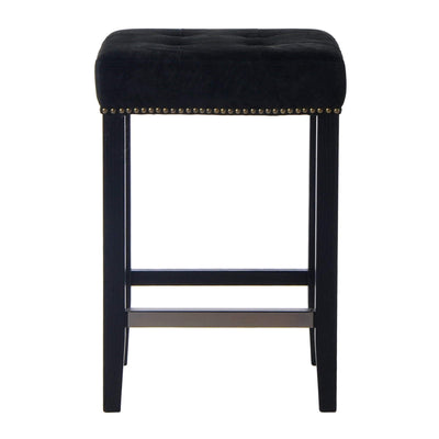 Canyon Oak Kitchen Stool - Black Suede