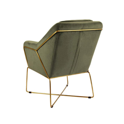 Milan Green Velvet Armchair - Back