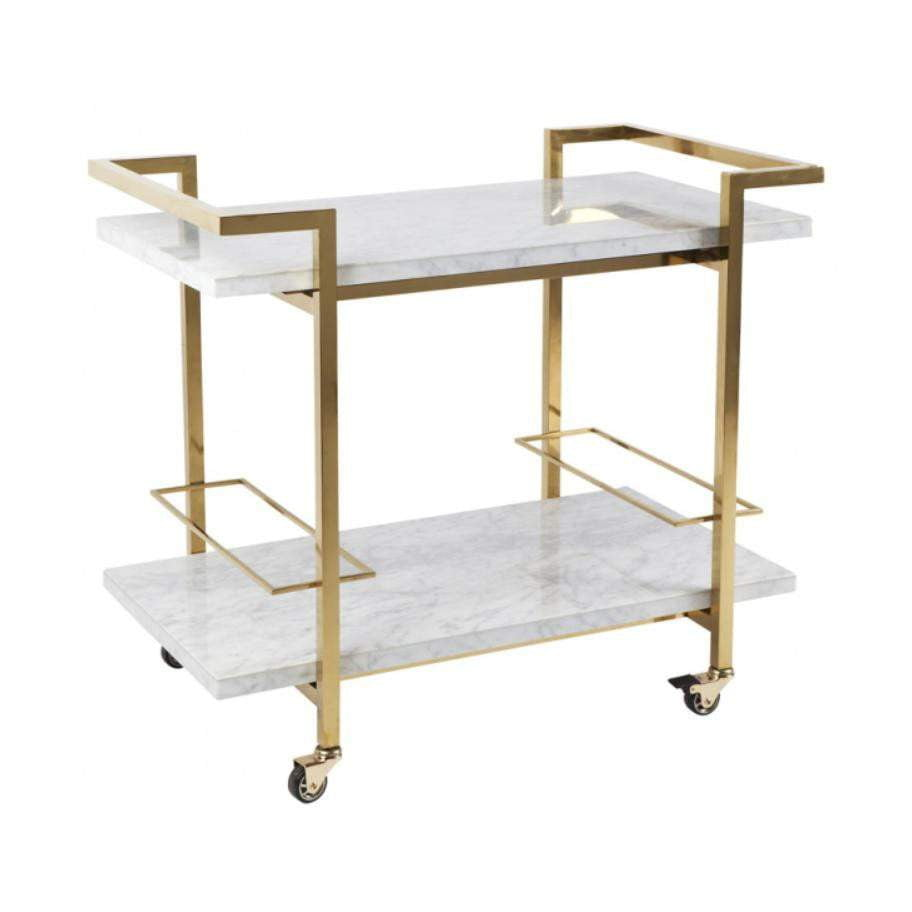 Gold Drinks Trolley | White Marble Drinks Trolley