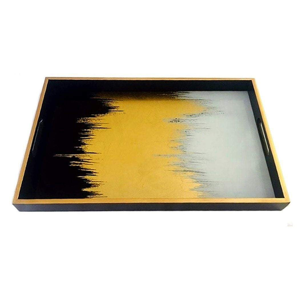 Black & gold Luxury Tray| Attica Luxury Furniture & Accessories