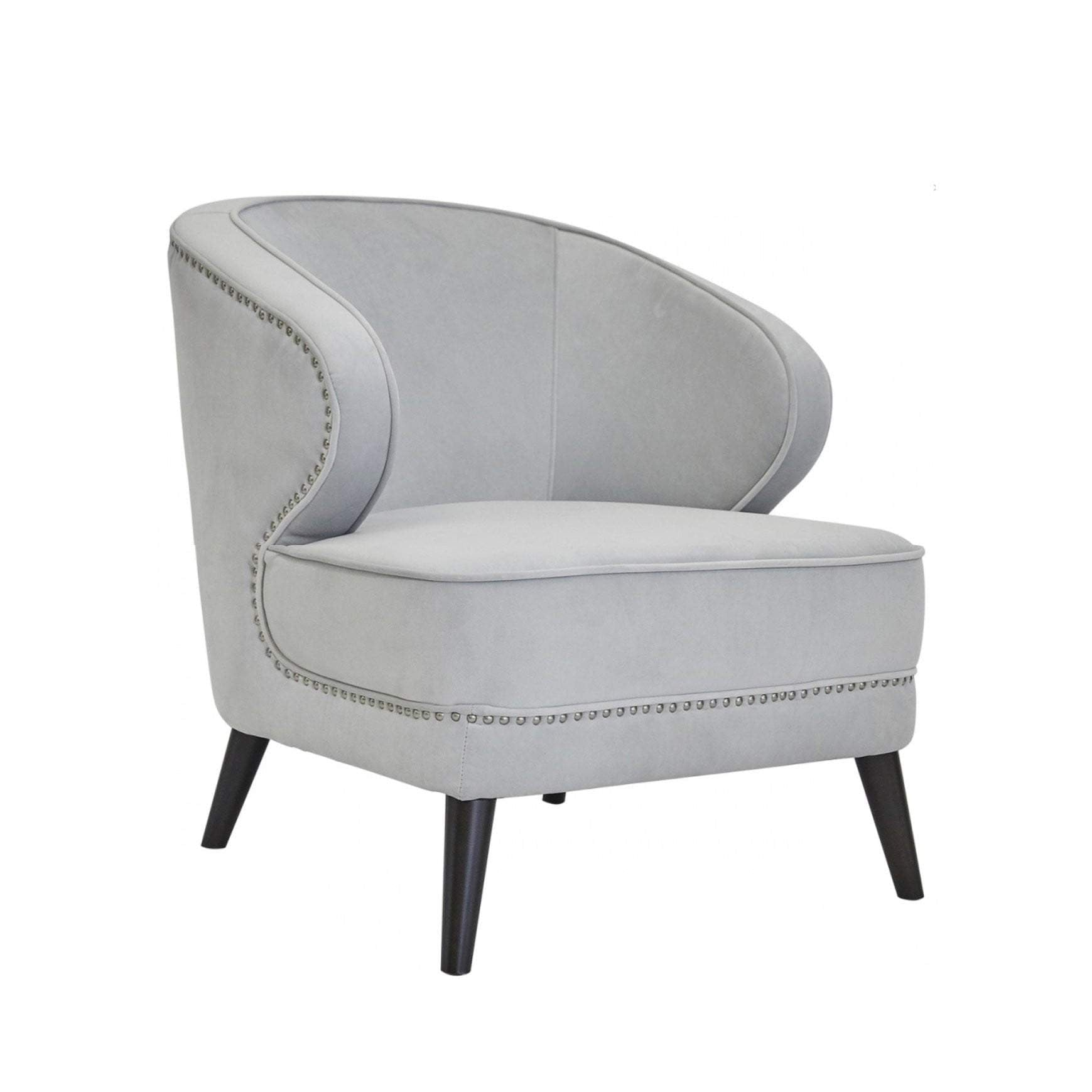 Hallie Velvet Arm Chair - Grey