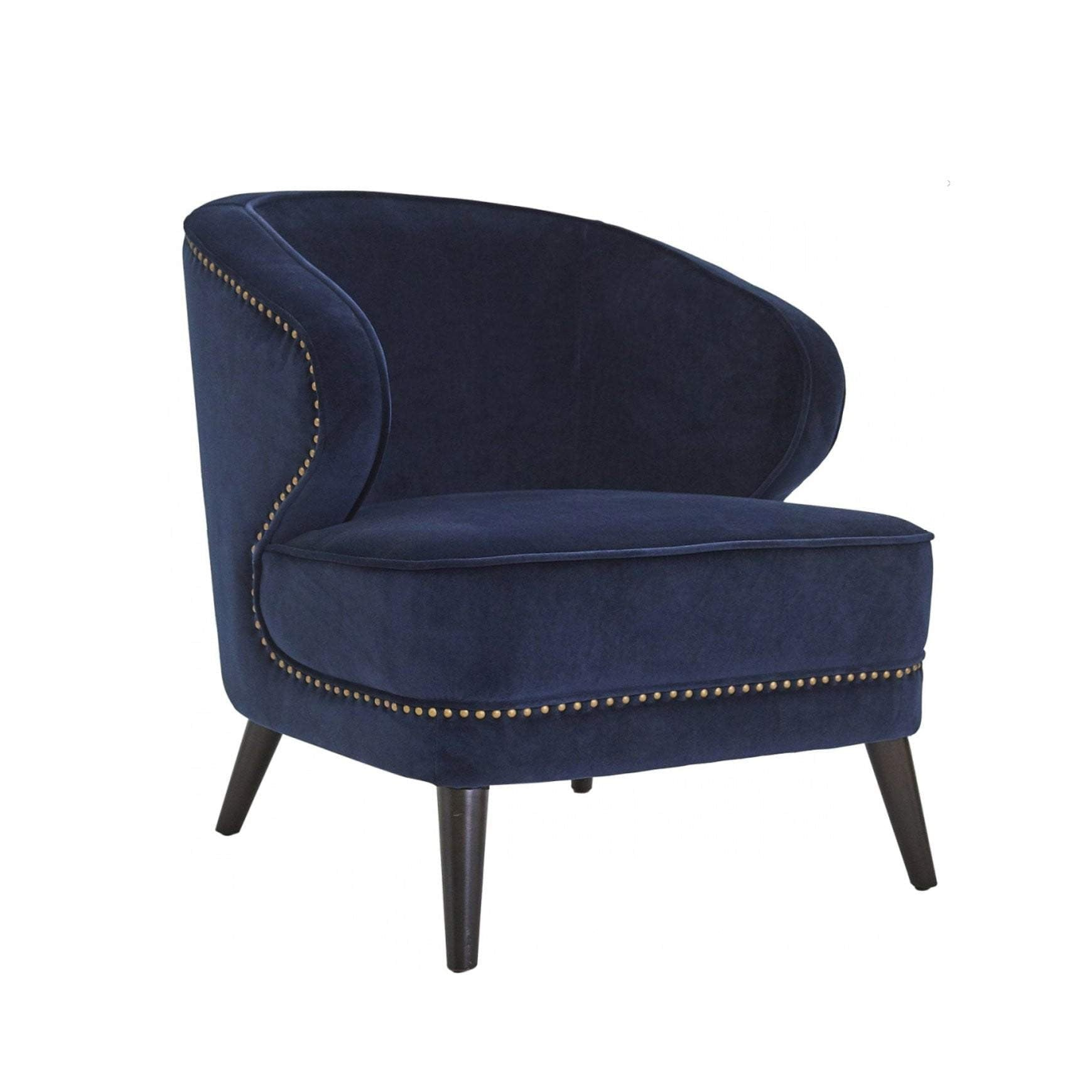 Hallie Velvet Arm Chair - Navy