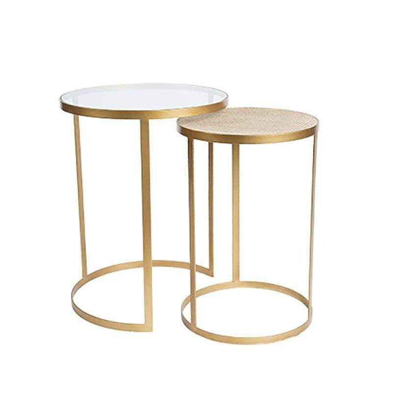 Manhattan Gold Nesting Side Tables - Rattan Top