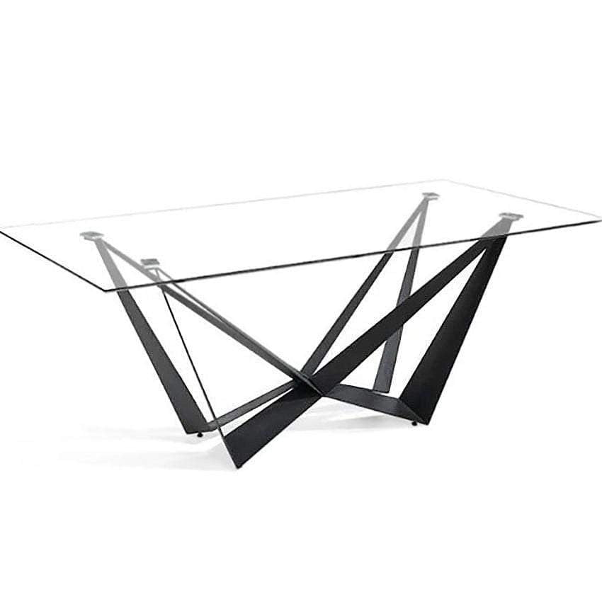 Radiance Glass Rectangle Dining Table - Black