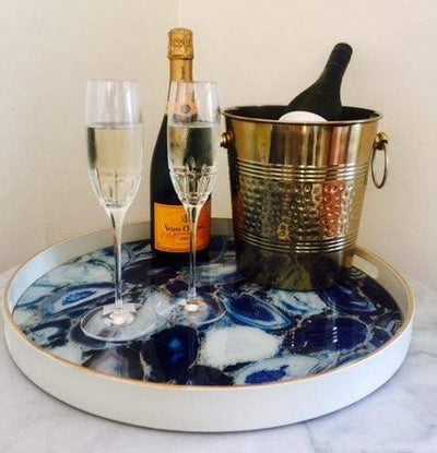 Blue Round Tray Setting Pic |Attica Luxury Home Bar