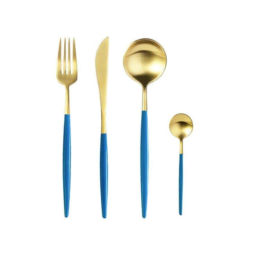 Coco Blue And Matte Gold Cutlery Set - 24Pc