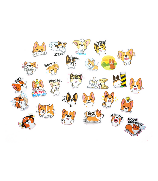 Corgi Line Sticker set 1 for corgi dogs, corgi puppies, corgi dog owners, welsh corgi