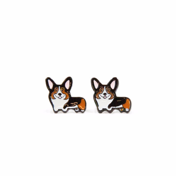 Tri Color Corgi Metal Ear Studs