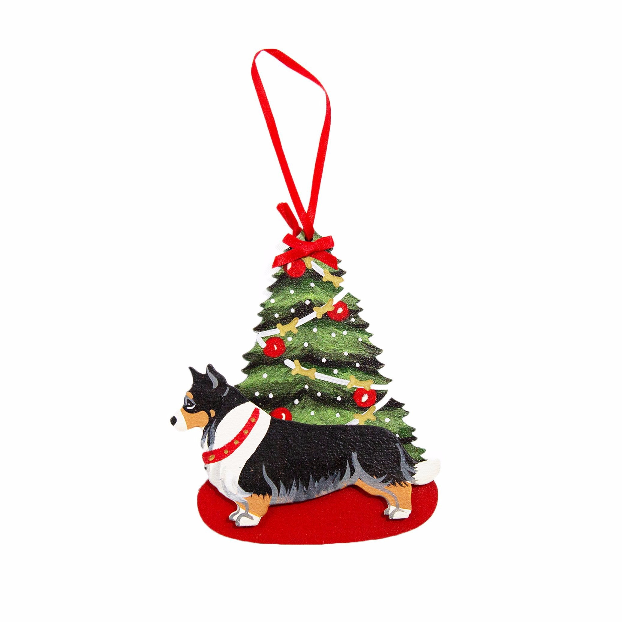 Christmas Holiday Pine Tree Dog Breed Ornament BY Dandy Design