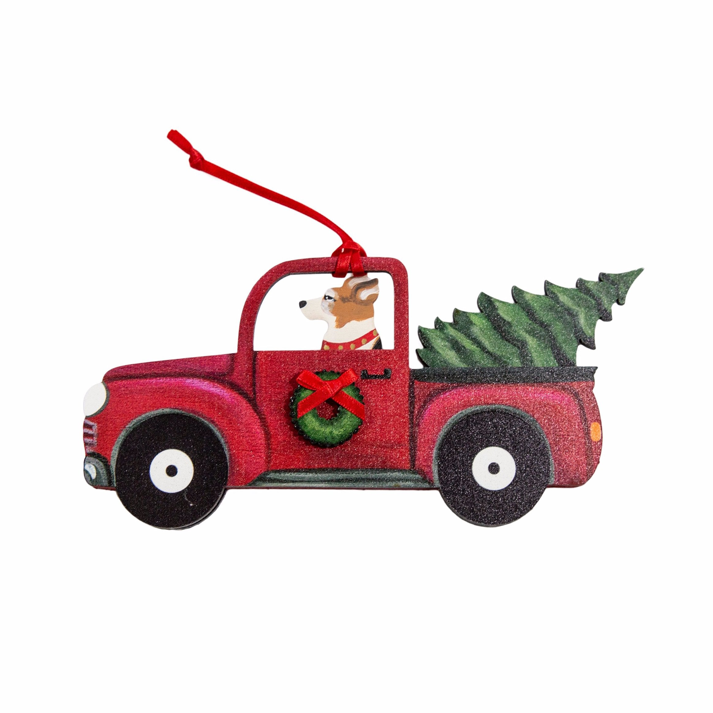 Holiday Red Truck Dog Breed Ornament BY Dandy Design