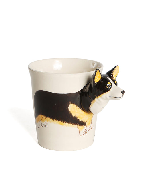 Unique 3D Tricolor Ceramic Corgi Mug