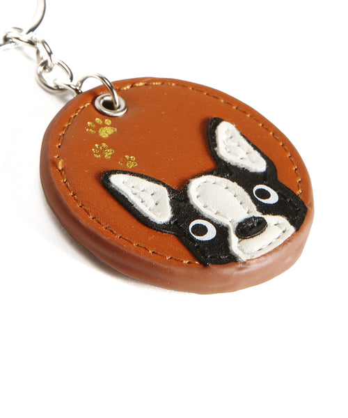 Frenchie Handmade Leather Keychain