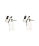 Cute Hanging Husky Silver Ear Studs