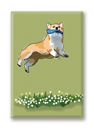 Corgi, Jumping Fridge Magnet BY PaperRussells
