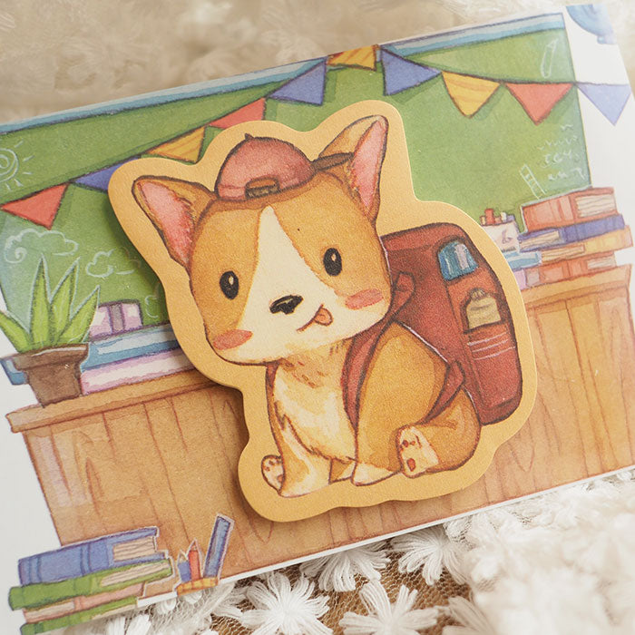 First Day of School Corgi Stick Note