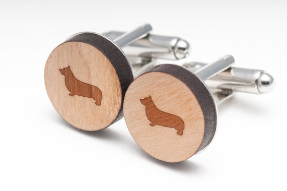 Pembroke Welsh Corgi Wood Cufflinks Gift For Him BY WoodenAccessoriesCo