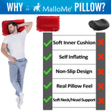 MalloMe Inflatable Camping Travel Pillow Soft Foam Red - MalloMe