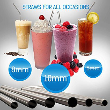 MalloMe Reusable Metal Stainless Steel Straws Drinking Curved Straight Long R...