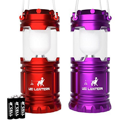 LED Camping Lantern Set of 2 Red & Purple