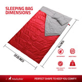 Double Camping Sleeping Bag in Red - MalloMe