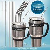 Reusable Metal Stainless Steel Straws – Drinking Curved & Straight Long Reuseable Dishwasher Safe For 30 oz Large Tumbler Drinks Plastic Free Silver Accessories - MalloMe