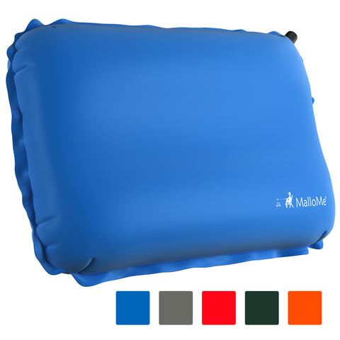 MalloMe Inflatable Camping Travel Pillow Soft Foam Blue - MalloMe