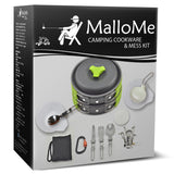 Camping Cookware Mess Kit (1 Liter Pot Plus) - MalloMe