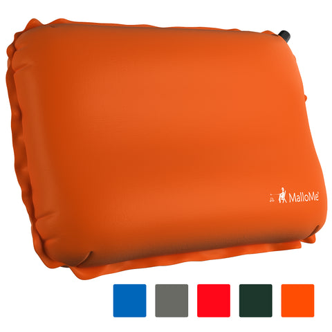 MalloMe Inflatable Camping Travel Pillow Soft Foam Orange - MalloMe
