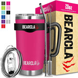 Travel Coffee Cup Mug Tumbler - 20 oz - Stainless Steel Vacuum Insulated Mug 6-Piece Set - Includes 2 Lids, Straw, Brush, Handle