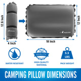 MalloMe Inflatable Camping Travel Pillow Soft Foam Grey - MalloMe
