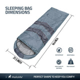 Single Camping Sleeping Bag - Grey - MalloMe