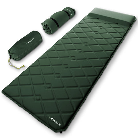 MalloMe Sleeping Pad Camping Air Mattress – Self Inflating Mat Bed Green - MalloMe