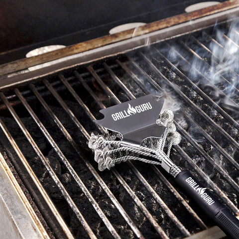 GrillGuru BBQ Grill Brush - Extra Strong BBQ Cleaner - Safe Wire Bristles Stainless Steel Barbecue Triple Scrubber Cleaning Brush for Gas and Chargoal Grilling Grates
