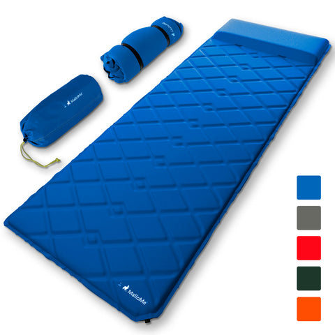 MalloMe Sleeping Pad Camping Air Mattress – Self Inflating Mat Bed Blue - MalloMe