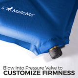 MalloMe Sleeping Pad Camping Air Mattress – Self Inflating Mat Bed Blue